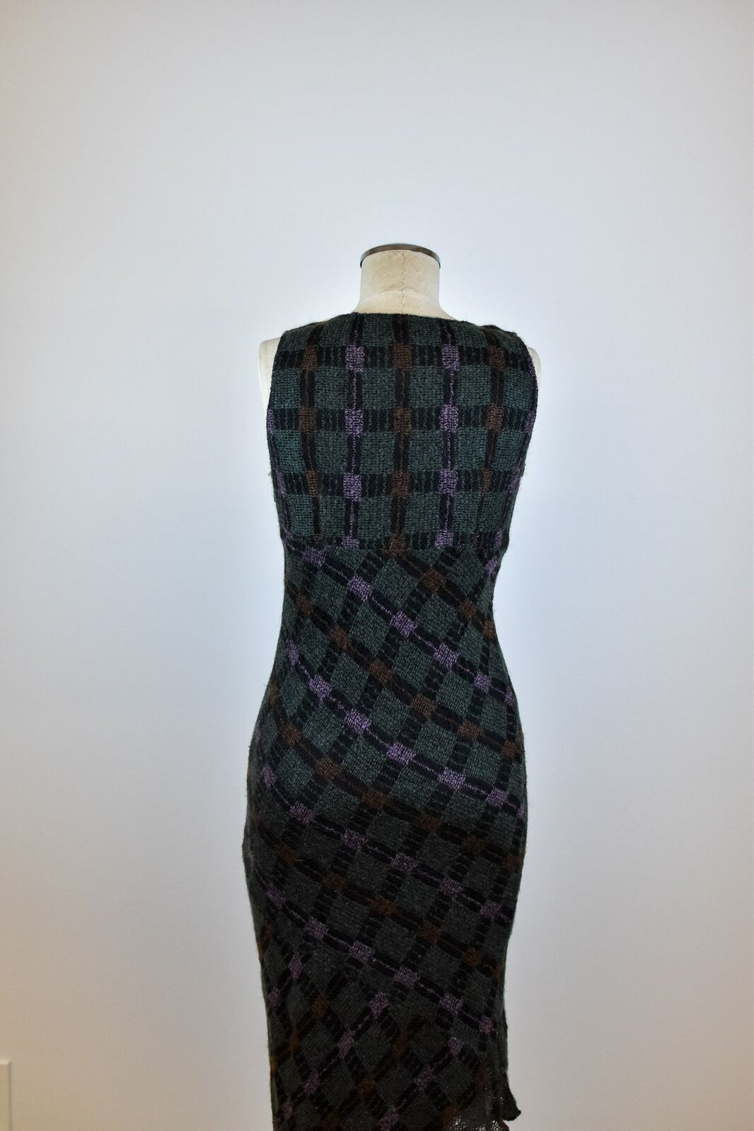 1990's Vintage Anna Sui Checkered Mohair Dress - image 8