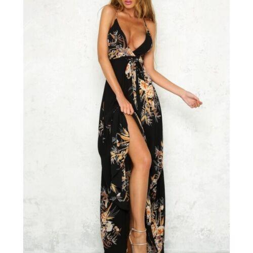 7ba1761f6557 Dames  kleding Elegante vestito abito lungo nero colorato scollato spacco  scollo slim 3867