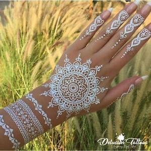 Temporary Tattoo White Henna Kit Stickers Mandala Mehndi Flower