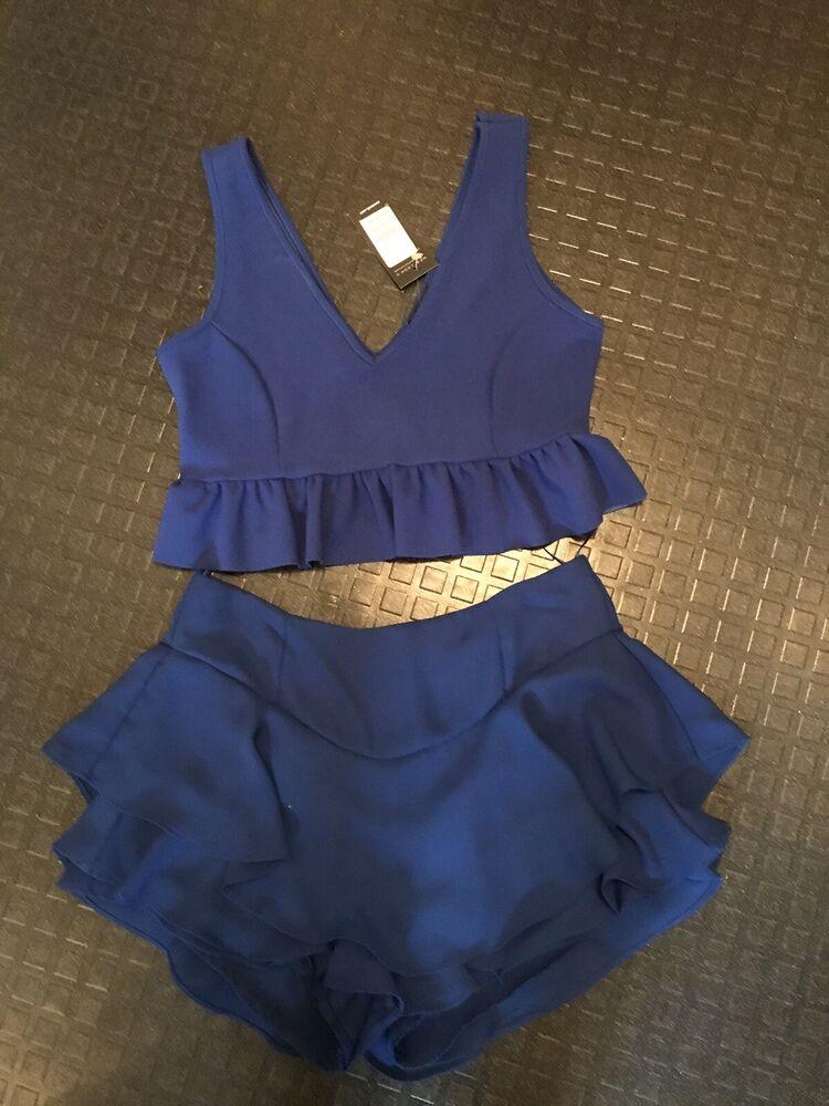 Bnwt Femmes Noël Tenue De Fête Bleu Cobalt Frill Ruffle Short Crop Top Taille 12