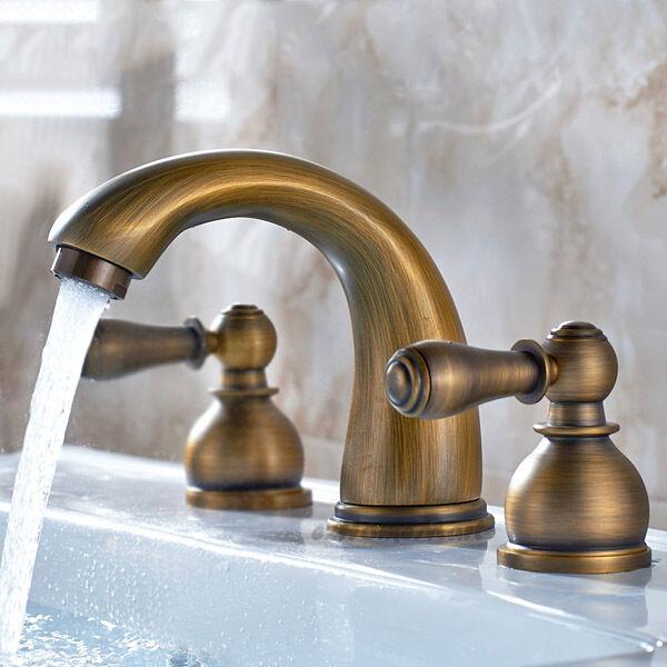 Traditionnel Laiton Antique Double poignées salle de bains bassin évier mitigeur eau robinets