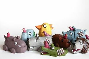 Lot-of-3-Super-Cute-Resin-Animals-Collections-with-Ugly-Cute-Design