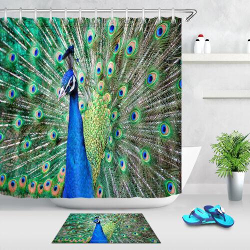 beautiful peacock feathers Bathroom Shower Curtain 12 Hooks Waterproof Fabric