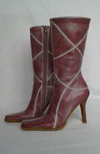 BP Womens Sundance Pink Leather Calf High Side Zip Boots Heels Size 5 Nordstrom