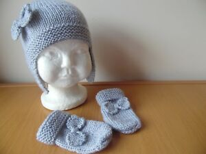 5f4fe5ef8e6 Image is loading Hand-knitted-baby-girls-hat-and-mittens-set-