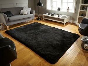 SMALL-LARGE-SOFT-CHUNKY-THICK-DEEP-LONG-SHAGGY-8CM-PILE-PEARL-PLAIN-BLACK-RUG