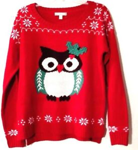Womens-Sweater-Owl-Red-Its-Our-Time-Soft-Knit-Snowflakes-at-Hem-Side-Slits-M-S