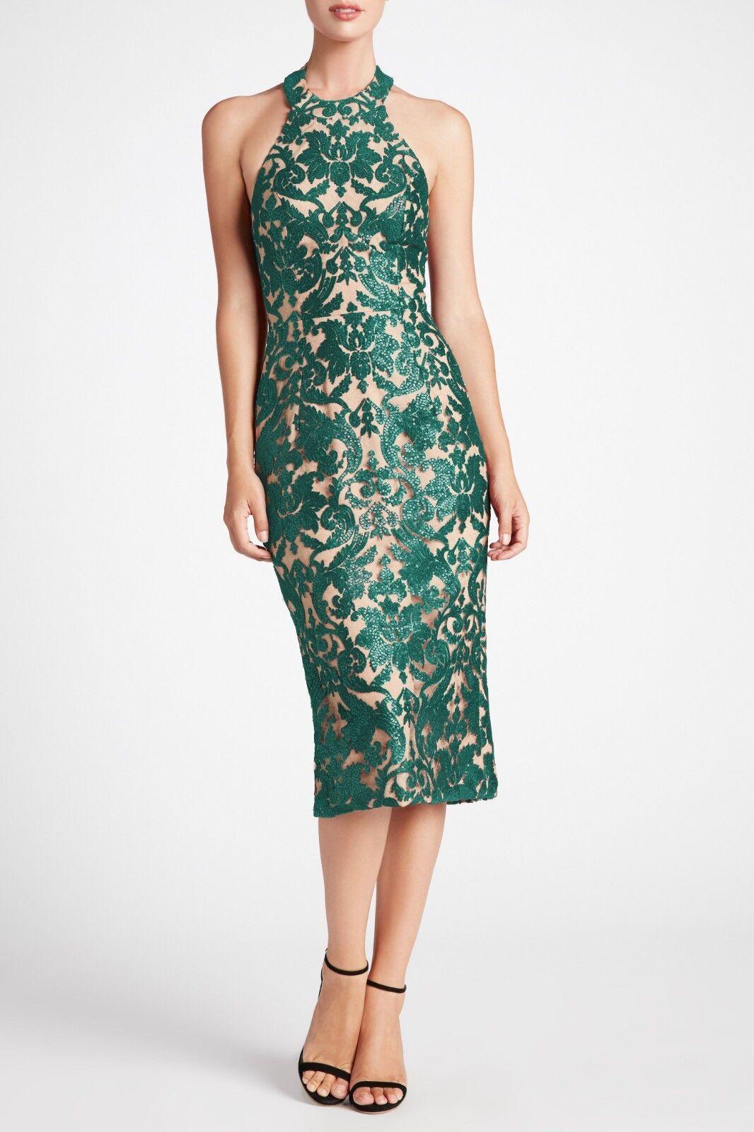 NEW DRESS the POPULATION Emerald Green Nude Sequin Lace Cassie Halter Midi M 8