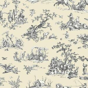 Wallpaper-Designer-French-Country-Scenic-Cream-and-Eggshell-White-Toile