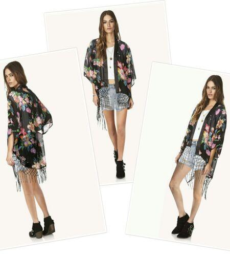 Manteau kimono cape vintage rétro boho hippie casual chiffon top blazer jacket