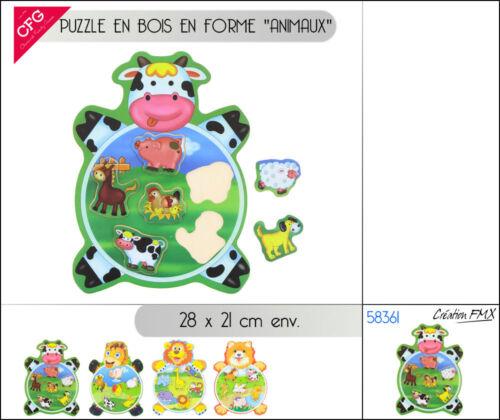 Puzzle en bois forme animaux de la ferme sauvage éducatif enfant