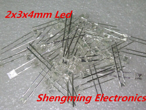 100pcs 2x3x4 Warm White led Diffused water clear 1000-1200mcd