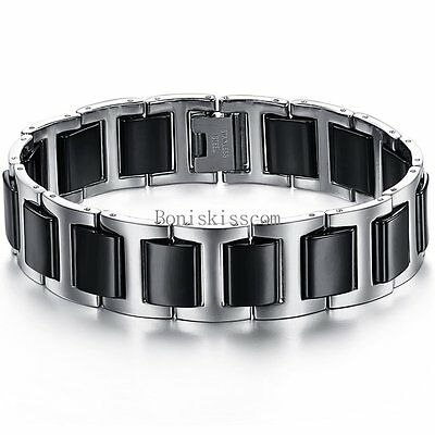 Black Ceramic Silver Stainless Steel Link Wristband Men's Bracelet 8.27 Inches
