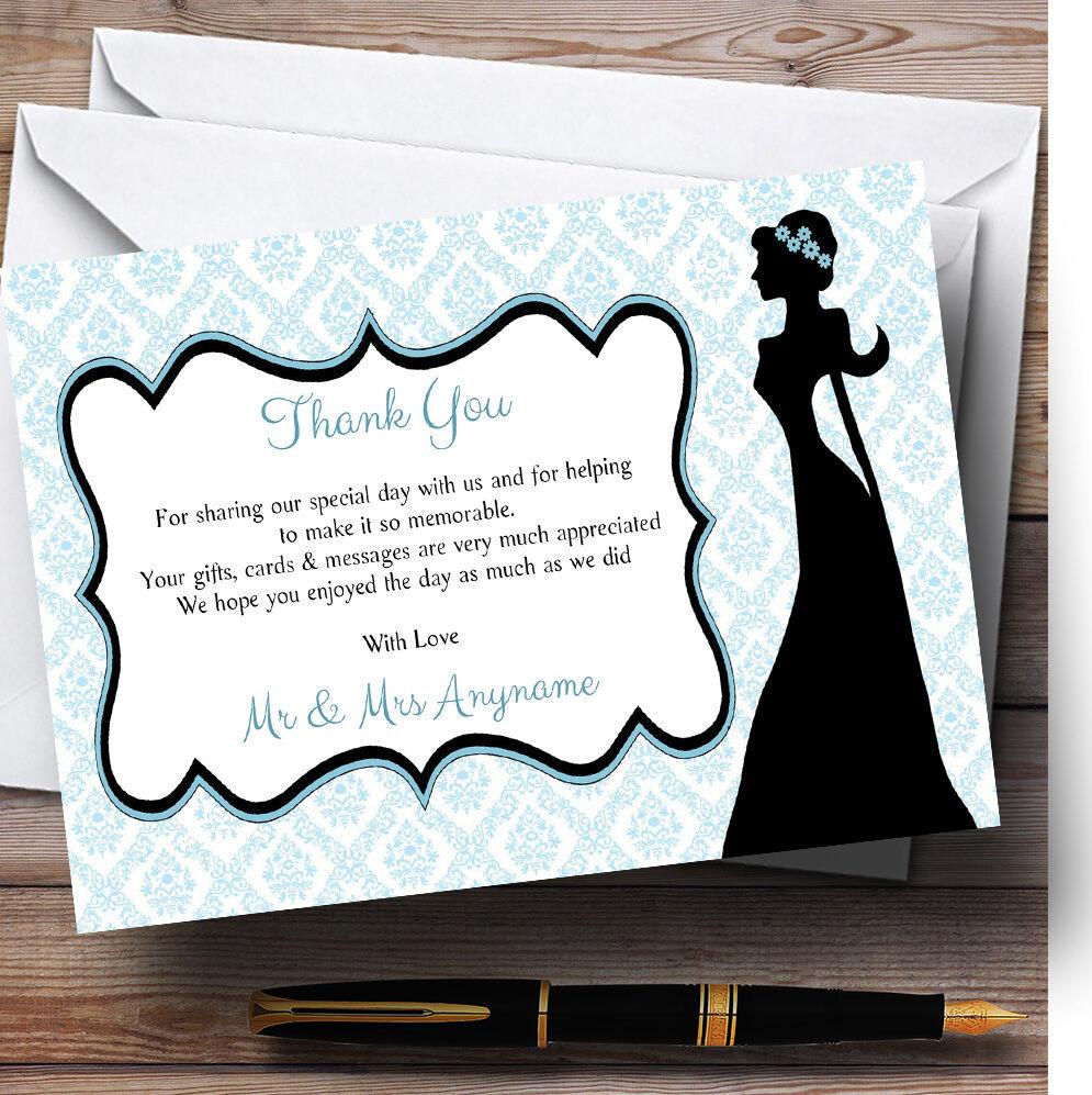 Blau Bride Silhouette Personalised Wedding Thank You Cards