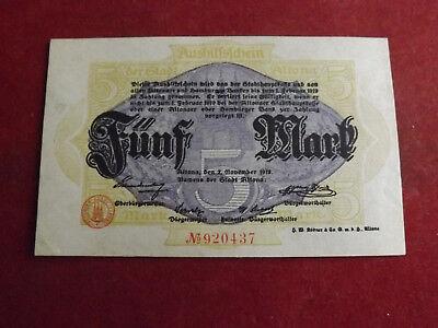 * Aushilfeschein Stadt Altona 5 Mark 1918(alb3)