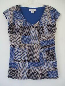 b8ce6b86bd5fe1 Liz Claiborne Women s Size S Small Blue Geometric Short Sleeve ...