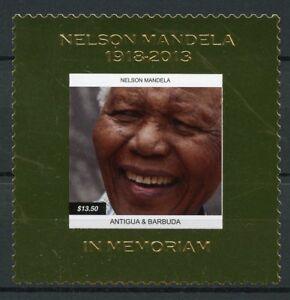 Antigua & Barbuda 2013 Neuf Sans Charnière Nelson Mandela 1 V Gold Stamp Politiciens Timbres