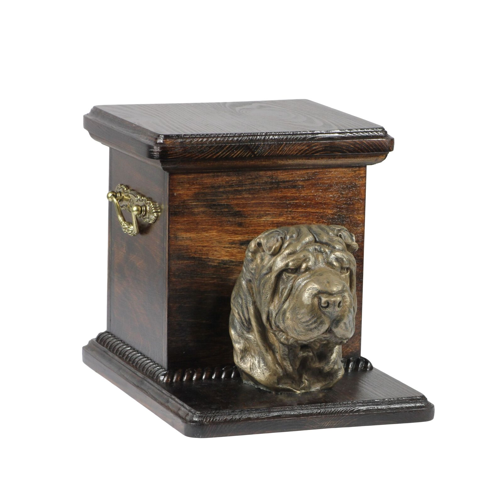 Shar Pei - wooden exclusive urn for dog with statue, Art Dog type 3