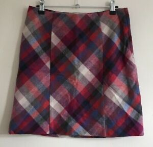 H&M Size Euro 38 Ladies Multicoloured Check Skirt, Wool Blend