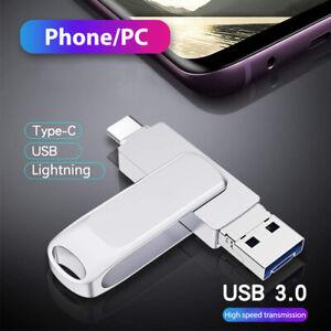 3 in 1 USB Stick Flash Drive 128GB OTG 3.0 Type C+Lighting+PC für iPhone Samsung