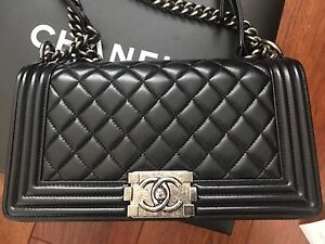 ae66262530d54 Authentic Chanel Le Boy Black With Silver Medium Lambskin Leather ...
