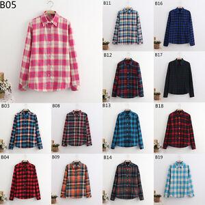 Button-Down-Plaids-amp-Checks-Flannel-Casual-Lapel-Shirt-Women-Shirts-Tops-Blouse