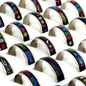 100x-Wholesale-Mixed-Lots-Color-Changing-Silver-Plated-Mood-Rings-Bulk-Jewelry