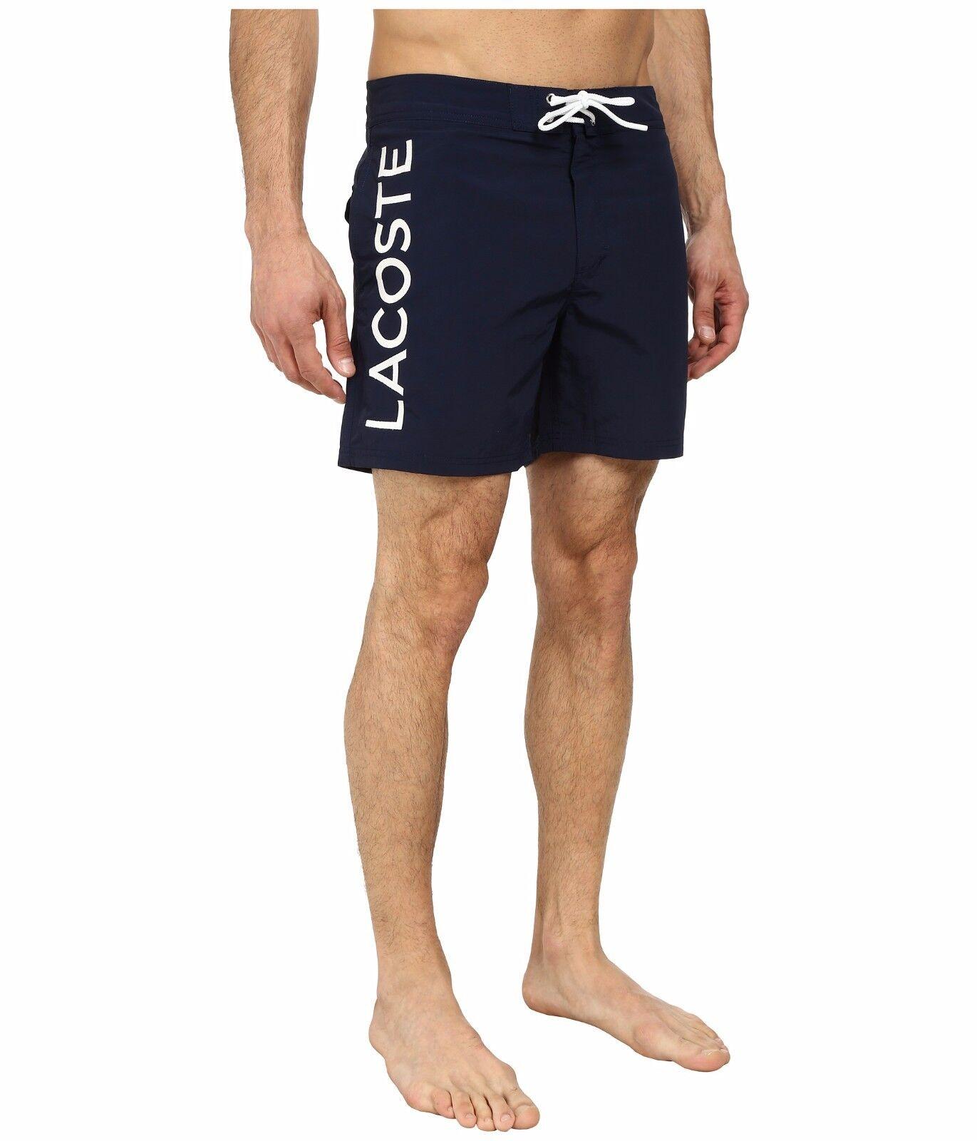 Lacoste Poplin Logo Swim Short At Leg 6