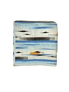 Vintage Southwestern Comforter Bedding Throw Blanket Quilt 70s Retro Blue Orange