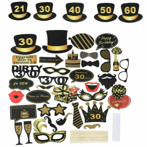 36x Happy Birthday Photo Booth Props Selfie Photography 16//18//30//40th//50th 21st