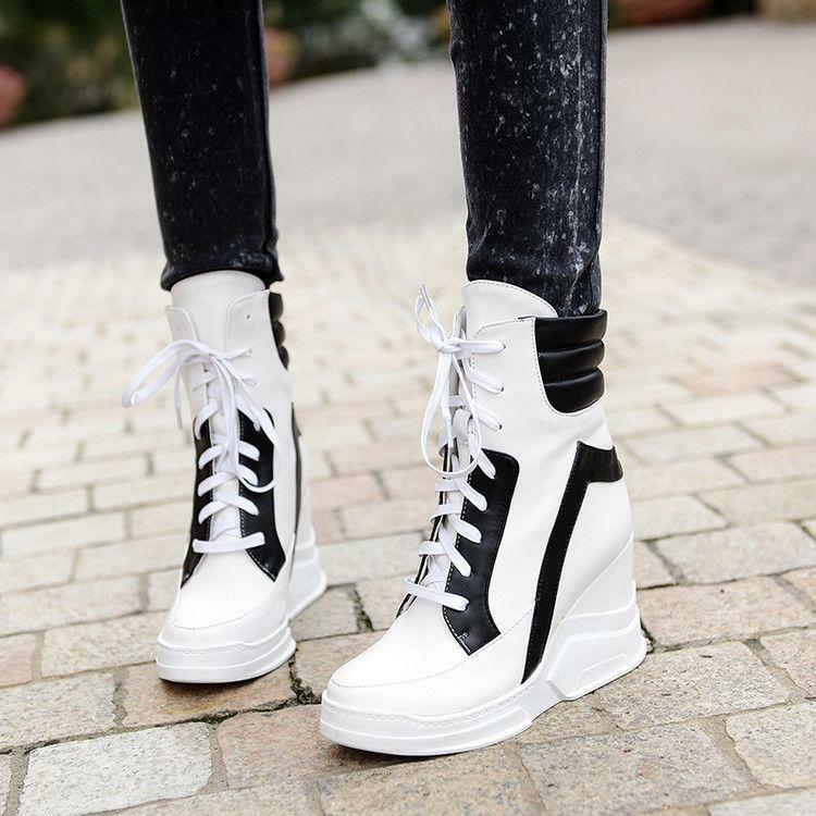 Womens lady Platform Hidden Wedge Heels Sneaker Lace Up Punk ankle Boots shoes