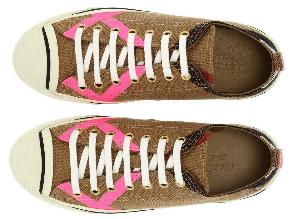 NEW BURBERRY CLASSIC CHECK NEON PINK TRAINERS SNEAKERS FLAT SHOES 36 US 6