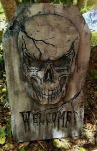 WELCOME-Authentic-Handmade-Halloween-Tombstone-Prop-Halloween-Decor-Yard-Art