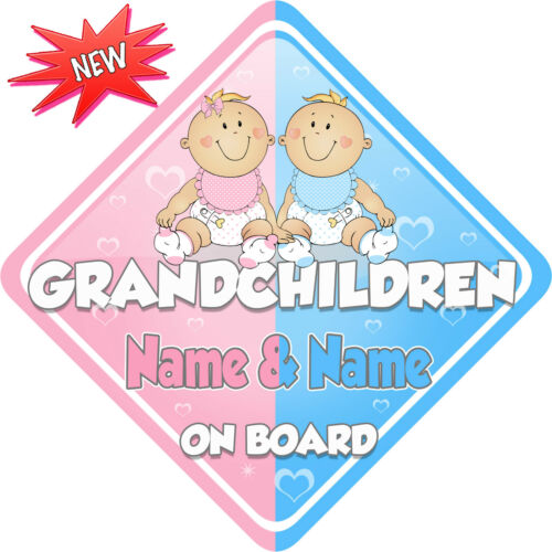 Personalised Grandchildren Boy//Girl Baby on Board Car Sign New ~ P/&B New Babies
