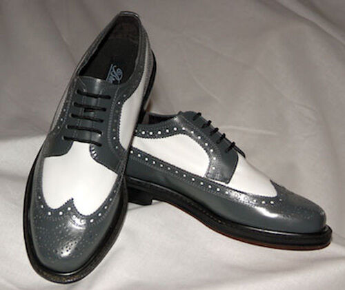 Grey And White Wing Tip Dress Shoes with Thick Soles Scarpe classiche da uomo