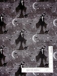 Halloween-Witch-Moon-Star-Bat-Web-Cotton-Fabric-Northcott-Frightful-By-The-Yard