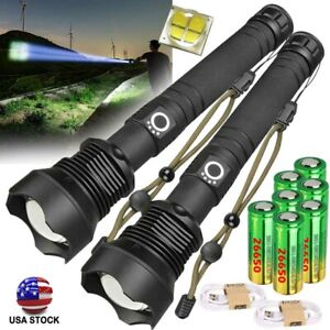 950000 Lumens Zoomable XHP70 LED USB Rechargeable Torch Flashlight Super Bright_