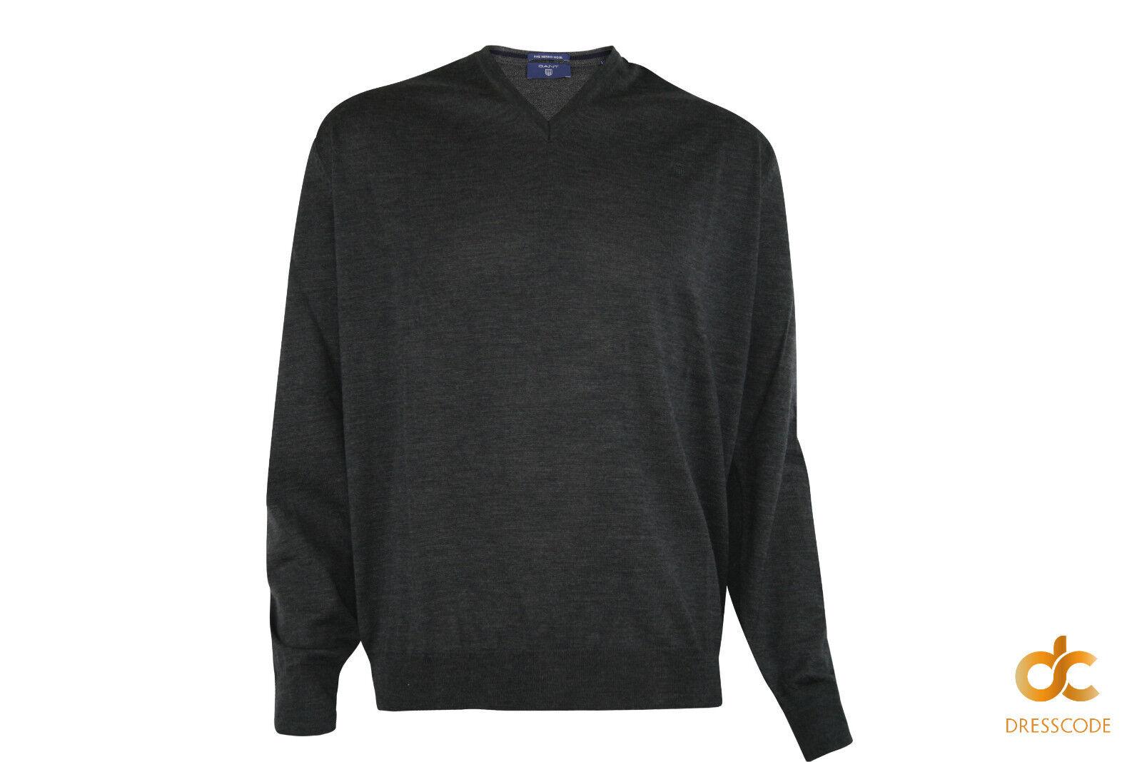 GANT Pullover Merinowolle Herren V-Ausschnitt Grau Melange 2XL 4XL Übergroßen