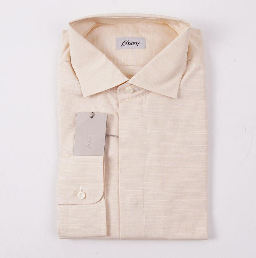 NWT  BRIONI Woven Peach Extrafine Cotton Dress Shirt XXL Spread Collar