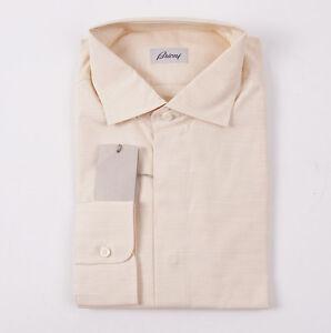 NWT-595-BRIONI-Woven-Peach-Extrafine-Cotton-Dress-Shirt-XL-Spread-Collar