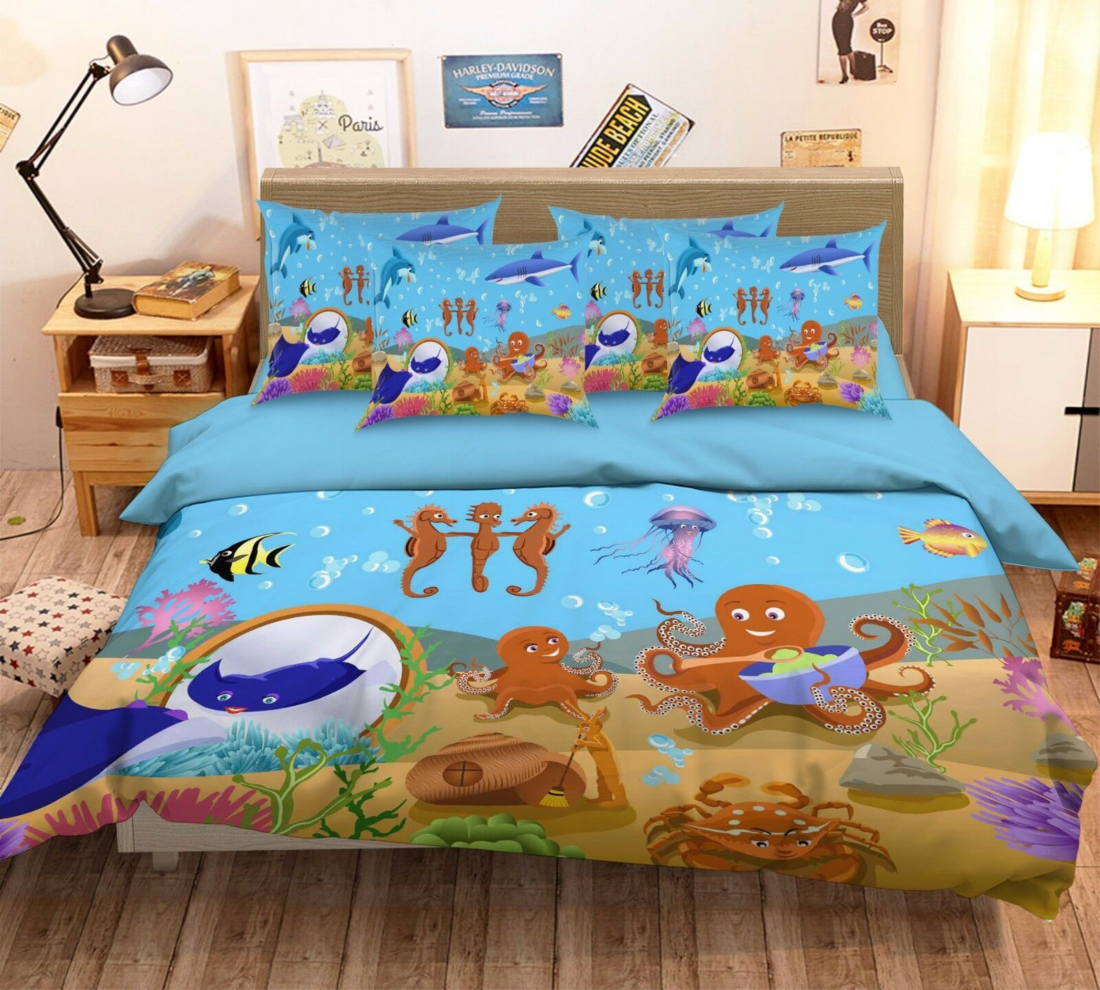 3D Sea Horse 755 Bed Pillowcases Quilt Duvet Cover Set Single Queen UK Carly