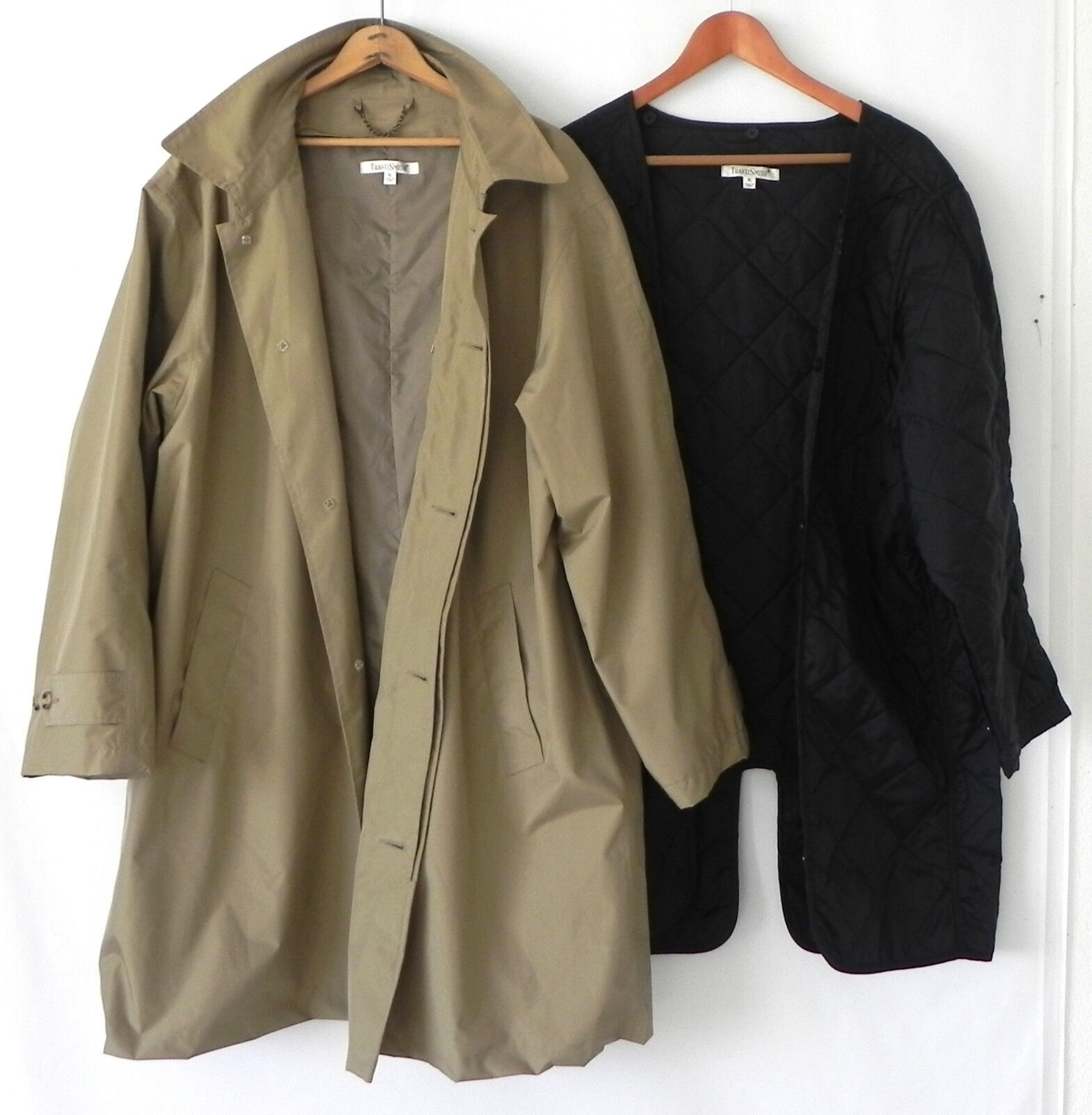 TravelSmith Trench Coat Removable Thermolite Liner Khaki Größe XL
