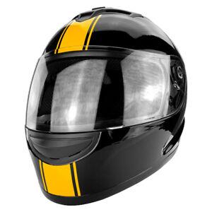 Full-Face-Motorcycle-Helmet-With-Flip-Up-Visor-Gloss-Black-Orange-Stripe-DOT