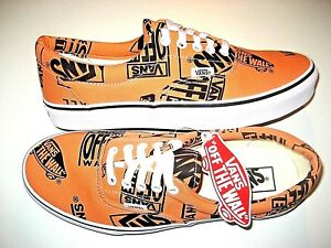 236c711eba2a Vans Era Mens Logo Mix Tangerine Orange Black Canvas Skate shoes ...
