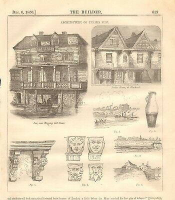 Blackwall Exquisite In 1856 Antique Architecture Print- Architecture Of Thames Side Wapping Workmanship