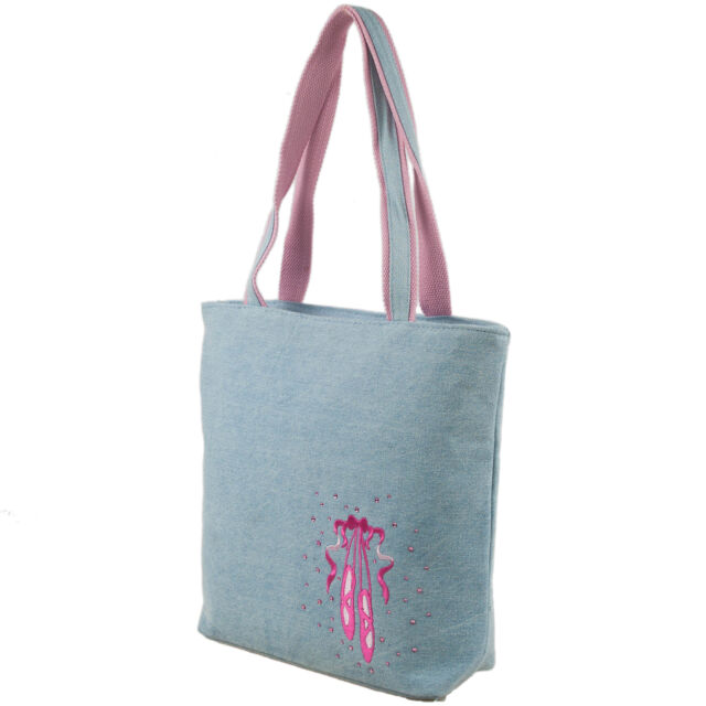 Girls Denim Tote Bag With Embroidered Ballet Shoe and Rhinestone for ... 8e86d4aaf1279