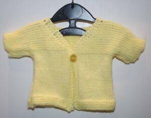 Logique Tricoté à La Main 0-3 Mois Baby Cardigan Citron-afficher Le Titre D'origine