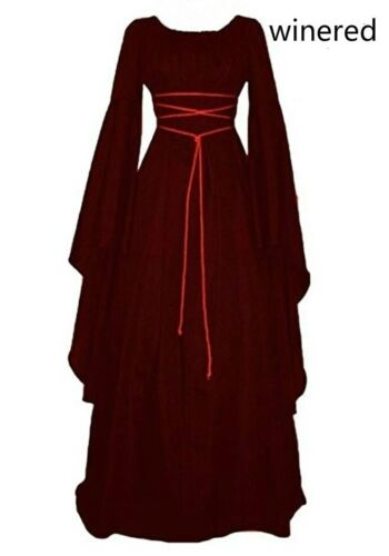 Women Medieval Renaissance Retro Gown Cosplay Costume  Long Lseeve Bandage Dress
