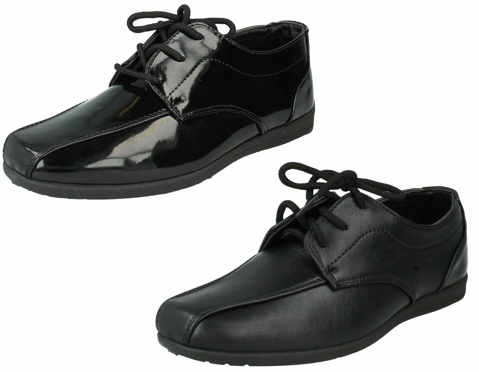 Boys JCDEES Black Lace Up Smart School Shoes UK Sizes 10 - 4 : N1110
