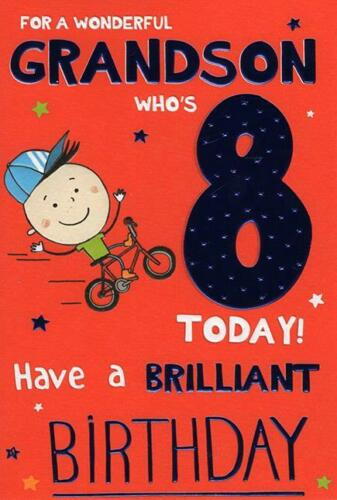Details about  /Grandson Age 8 Today 8th Bike Bmx Design Happy Birthday Card Lovely Verse